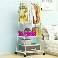 Triangle Stand Hanger Rak Buku Pakaian Serbaguna Dengan 4 Roda A581