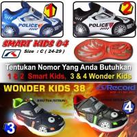 Sepatu Lampu Anak Laki Laki LED MOBIL POLICE warna hitam putih Record