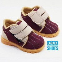 Sepatu anak Semi Boots Bahan Suede Usia 1 2 3 Velcro MARUN KREM BSMA