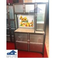 Rak piring 3 pintu meja keramik lemari piring rak dapur aluminium