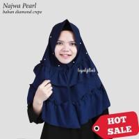 Jual Lapak Jilbab - Hijab Instan Najwa Pearl / Bergo Mutiara Ruffle Diamond Murah