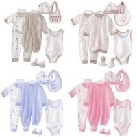 8 Buah/Set Pakaian Bayi Baru Lahir Dengan Topi + Celana Panjang