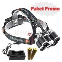 Paket Headlamp / lampu senter kepala 16000 lumens 4 mode