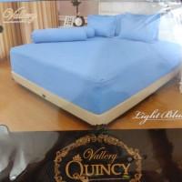 Sprei Vallery Quincy 180x200x30 Serat Aloe Vera Motif Light Blue Embos