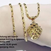 kalung set liontin emas kuning singapura kadar 916 MRK