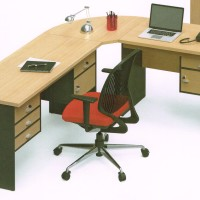 Meja Kerja Staff Kantor Eksekutif bentuk L Modera Powell 3 Murah