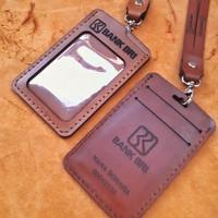 Gantungan Id Card kulit Case Id Card kulit Name Tag kuliu