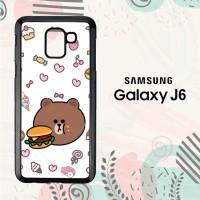 Casing Samsung Galaxy J6 2018 HP Wallpaper Line Brown LI0197
