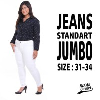 Celana Jeans Wanita Putih Jumbo