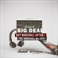 Bundling - Marshall Acton Bluetooth Speaker - Cream + Major II Brown