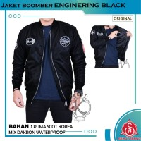 Jaket Bomber Bordir Pria Original KENT ENGINERING BLACK