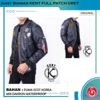 Jaket Bomber Pilot Pria Original KENT FULL PATCH GREY