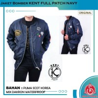 Jaket Bomber Pilot Pria Original KENT FULL PATCH NAVY