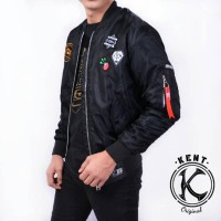 Jaket Bomber Pilot Pria Original KENT FULL PATCH BLACK