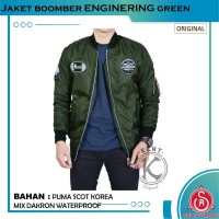 Jaket Bomber Pilot Pria Original KENT ENGINERING GREEN