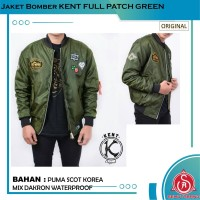 Jaket Bomber Pilot Pria Original KENT FULL PATCH GREEN
