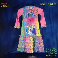 (GM01) Baju Muslim Anak Gamis Anak Frozen Remple Pita Size S, M, L, XL