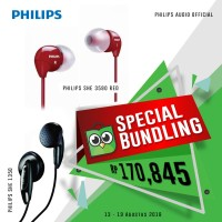 Special Bundling PHILIPS Earphone SHE 1350 + SHE 3590 Red