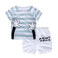 Perlengkapan Bayi Baju Bayi Laki Laki Setelan Motif Shark Dan Mickey