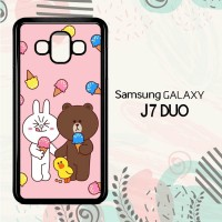 Casing Samsung Galaxy J7 Duo HP Wallpaper Line Brown and Cony LI0198