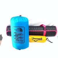 Paket Sleeping bag polar bulu ~ hammock ~ matras spons - Biru