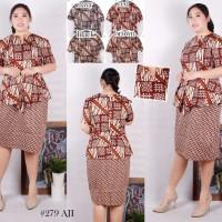 279AJI Super Jumbo Peplum Dress Batik Baju Atasan Wanita Bigsize