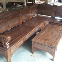 Kursi tamu sudut bagong minimalis dari bahan kayu jati berkualitas