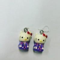 Anting Hello Kitty Pink Kimono Resin kait Plastik/Charm Plastic Clasp