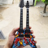 Harga miniatur gitar dean double neck flying v dave mustaine | Hargalu.com