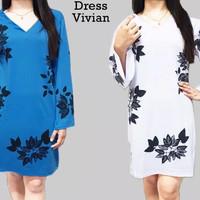 Biru putih dress midi baju wanita terusan casual kaos panjang xl jumbo