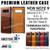 Leather Case Card Slot Casing Kulit Samsung Galaxy S8 S8+ Plus Note 8