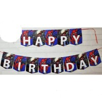 Bunting Flag / Banner Flag Happy Birthday Spiderman No. 139