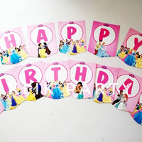 Bunting Flag / Banner Flag Happy Birthday Princess Disney No. 135