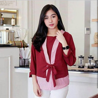 JESSICA TOP MAROON BLUE MOCCA