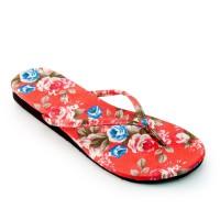 Megumi Floral Sandal Jepit Wanita - Red