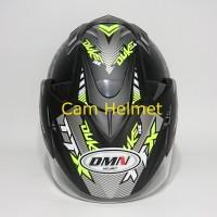 Helm 2 kaca (Double Visor) Murah Black doff Yellow Duke DMN