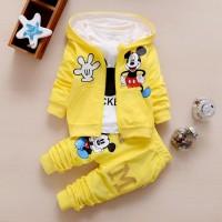 Baju Pakaian Anak Bayi Laki Cowok Perempuan kaos jaket mickey yellow