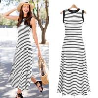 White Striped Sleeveless Simple Summer Long Dress 36948WE-XL