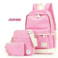 tas ransel sekolah 3 in 1 ( pink)