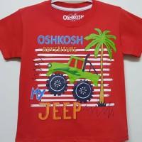 Baju kaos karaktet anak laki-laki oshkosh jeep merah 7-10