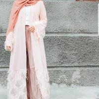 outer abaya panjang pink original