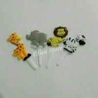 Hiasan Cake / Cupcake Zoo Animal Puffy Picks set-4