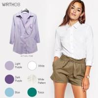 WRTH08 3 4 Sleeve Shirts Kemeja Wanita Atasan Baju Kerja