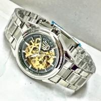 PROMO Jam Tangan Rolex Skeleton Chain Silver Series Untuk Pria |