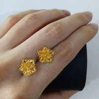 Giwang Emas asli model bunga kendari halus