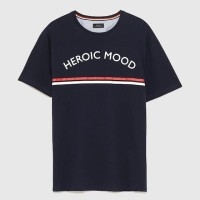 T-SHIRT ZARA MAN WITH STRIPED DETAIL NEWS MODEL KAOS ZARA MAN ORIGINAL