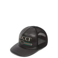 GUCCI VINTAGE LOGO BLACK LEATHER MESH CAP ORIGINAL   TOPI GUCCI