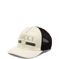GUCCI VINTAGE LOGO WHITE CREAM LEATHER MESH CAP ORIGINAL   TOPI GUCCI