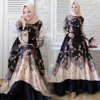 Dress Muslim Qorina Mewah elegan/Gamis Qorina Hitam Maxmara Balotely
