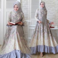 Dress Muslim Qorina Mewah elegan/Gamis Qorina Grey Maxmara Balotely